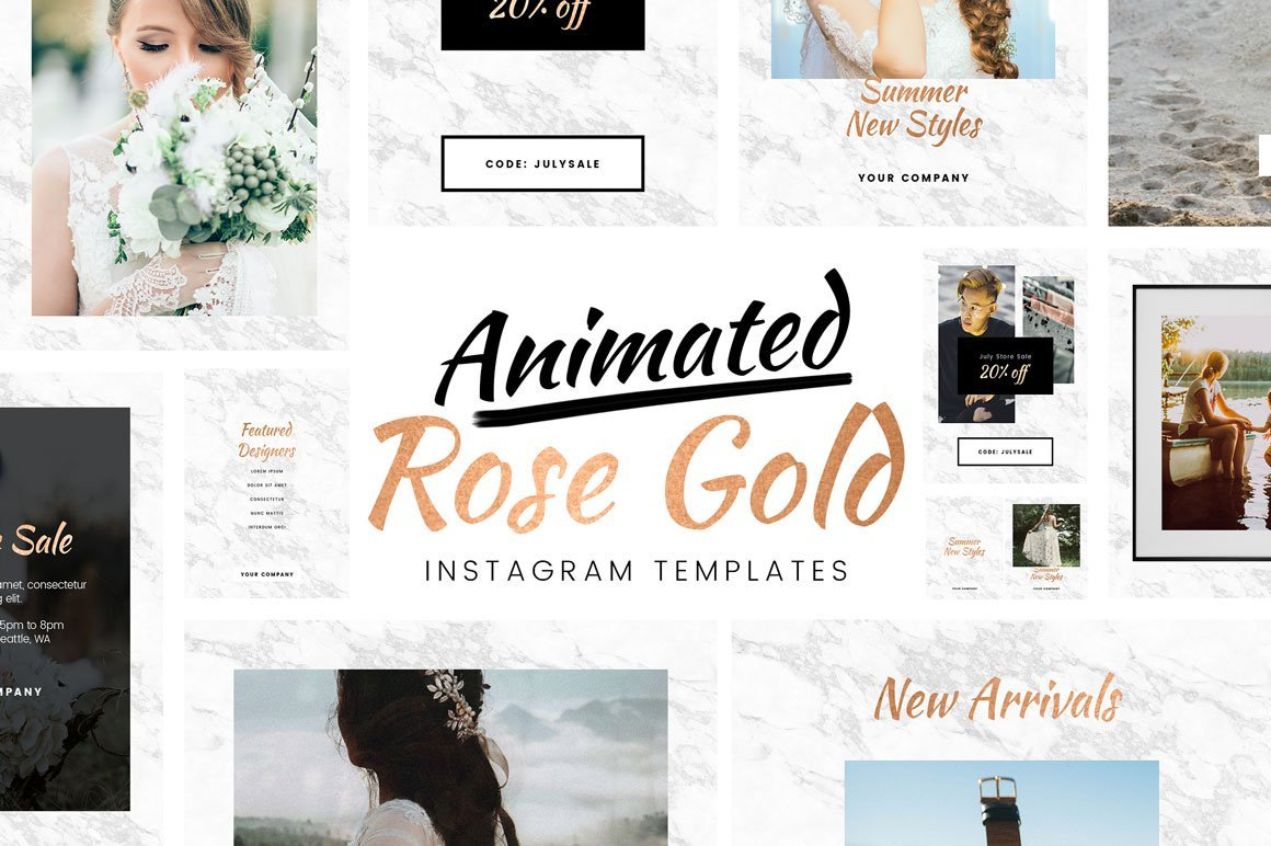 follow us on instagram template - free animated rose gold instagram template for photoshop